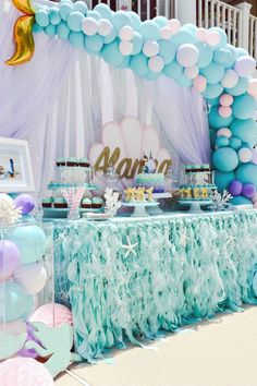 Mermaid Birthday Party (With images) 50th Birthday Party Decorations, Mermaid Party Decorations, Birthday Party Tables, Birthday Ideas, 5th Birthday, Mermaid Theme Birthday, Mermaid Themed Party, Baby Shower Mermaid Theme, Little Mermaid Parties