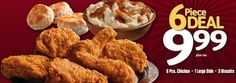KFC 6 PIECE DEAL. 6 PIECES Chicken, 1 Large sides, 3 Biscuits just for $9.99 for more Kfc Printable Coupons, Kfc Coupons, Print Coupons, Kentucky Fried, Fried Chicken, Seo, Biscuits, Fries, Crack Crackers