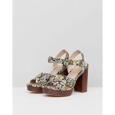 ASOS TIA Casual Platform Sandals (4.080 RUB) via Polyvore featuring shoes, sandals, peep toe platform sandals, peep toe sandals, floral shoes, platform shoes и floral print sandals