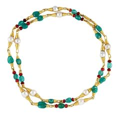 DAVID WEBB, usa 2000's, Gold Emerald Ruby & Pearls Necklace  Ottaviano, 28K 1stDibs