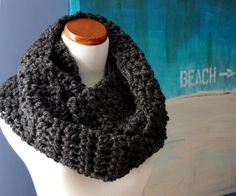 Infinity Scarf, Chunky, Charcoal, The Blustery Day II