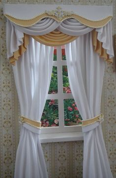 Miniature 112 Dollhouse curtains on order by TanyaCurtains on Etsy, $40.00