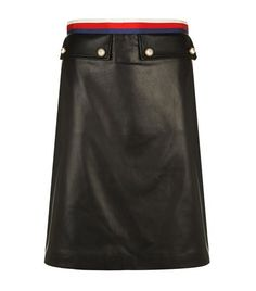 GUCCI Leather A-Line Skirt. #gucci #cloth #