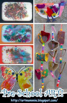 PreSchool ART!; Birds, Butterflies, Crayon Melt, Heart Strings; ArtMommie