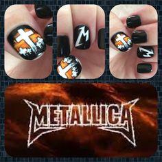 Hand painted Metallica nail art by Christine (artsychris) Instagram