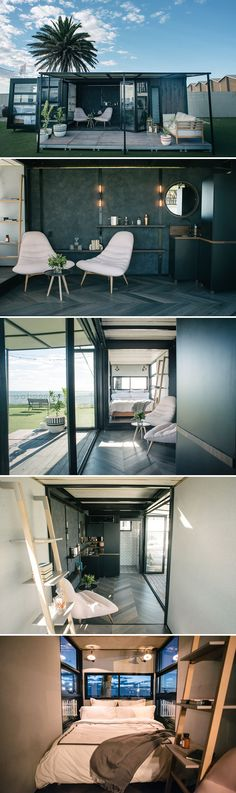 From Australian-based design firm, Contained, is this 20-foot shipping container repurposed into a portable hotel room.