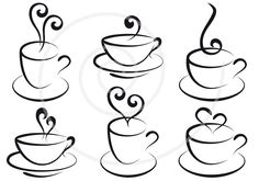 Coffee and tea cups with hearts digital clipart clip by Illustree