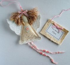 Shabby Chic Handmade Christmas Angel. Fabric Angel by SwinkyDoo