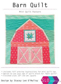 "Barn Quilt Mini Quilt Pattern - 20"" Mini Quilt, Quilt Block Pattern, Barn Quilt Pattern by slostudio on Etsy https://www.etsy.com/listing/260777463/barn-quilt-mini-quilt-pattern-20-mini"