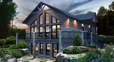 Altitude Would need to re-work the bedrooms - do not need massive in-suites, could add bedrooms. Log Home Floor Plans, Small House Floor Plans, Cabin House Plans, Modern House Plans, Style At Home, Cottage Design, House Design, Chalet Design, Plan Chalet