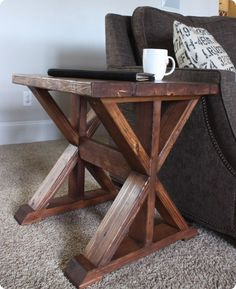 Wood Projects ~ Build this trestle style side table for $20 with these free plans!