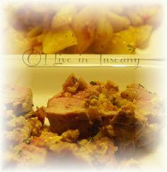 Filetto di maiale alla senape, farcito con pane condito e accompagnato da patatine