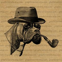 Detective Boxer Dog Pipe Hat Mr Human Clothes by GraphicVariete, $1.00