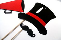 Circus Party Props. Photo booth Props. Wedding Photo Props. Photo Props. Mustache on a Stick. Props on a Stick - The Ringmaster Maro Kit. $13.95, via Etsy.