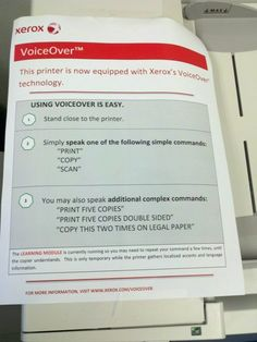 "Post the ""voice command"" instructions on the classroom printer."