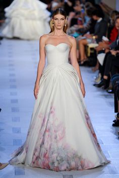 Zac Posen S/S '13. pleats and watercolor print gown