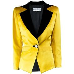 Preowned Yves Saint Laurent Yellow Satin Tuxedo Jacket, Fall 1988 ($1,203) ❤ liked on Polyvore featuring outerwear, jackets, blazers, yellow, tuxedo jackets, satin jackets, yves saint laurent, yellow blazers, golden jacket and sexy blazers