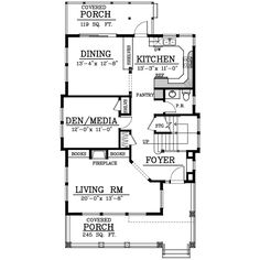 Bungalow Style House Plans - 2044 Square Foot Home, 2 Story, 3 Bedroom and 2 3 Bath, 0 Garage Stalls by Monster House Plans - Plan 1-161