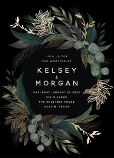 """Shades of Green"" foil-pressed wedding invitation by Susan Moyal. Botanical wedding invitation design pressed with real foil. Customize with any color to match your big day. #MintedWeddings #WeddingPlanning #WeddingInvitation #FoilInvitation #ModernInvitation"