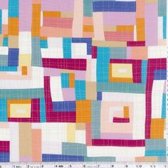 Inspired quilt artist and fabric designer Keiko Goke has designed this fun fabric collection - perfect for quiltmaking and crafting! More fun than it should be, this print is a fantastic log cabin cheater print. It's perfect for a cheater quilt, quilt backing, or to make fun crafty projects in your favorite colorway! This quilting weight Japanese fabric is 100% cotton and is 43/44