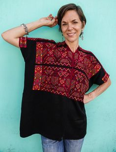 Handwoven Maya Vintage Double Eagle Huipil from Nahuala, Guatemala Guatemalan Textiles, Cultural Identity, Kind Words, Every Woman, One Size Fits All, Black Cotton, Maya, Hand Weaving, Eagle