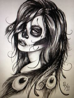 Sugar skull tattoo design LOVE LOVE LOVE!!! instead of the octopus tentacles peacock feathers