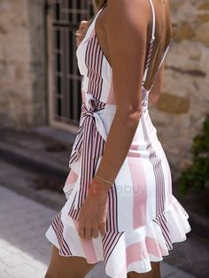 Stripes / Floral Print V Neck Tie-up Mini Dress Sexy Dresses, Cute Dresses, Casual Dresses, Short Dresses, Fashion Dresses, Mini Dresses, Cute Casual Outfits, Casual Wear, Summer Outfits
