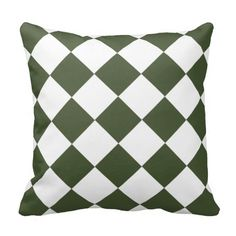 Hunter Green Diamond Pattern Throw Pillows  .......This design features a hunter green  diamond pattern on the front and back. Great for any room that needs this color for an pillow décor. Check out my store for more colors available with this pattern and on other products.