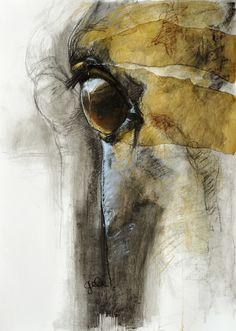"Saatchi Online Artist: Benedicte Gele; Pastel, 2010, Drawing ""Regard XIV"".  Original sold; prints available."