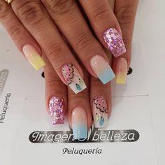 Short Nail Designs, Toe Nail Designs, Dope Nails, Bling Nails, Feather Nails, Glow Nails, Pretty Nail Art, Cute Acrylic Nails, Beautiful Nail Designs