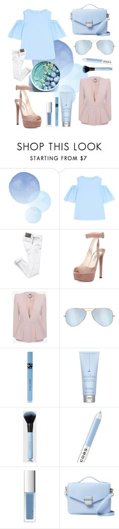 """Pastel Blue"" by ritaosantos ❤ liked on Polyvore featuring Iris & Ink, Prada, Alexander McQueen, Ray-Ban, COOLA Suncare, Drybar, Marc Jacobs, RMK, Cynthia Rowley and Blue"
