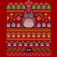 Studio Ghibli Christmas T-Shirts Totoro Merchandise, Anime Merchandise, Cross Stitching, Cross Stitch Embroidery, Cross Stitch Patterns, Film Animation Japonais, Studio Ghibli Characters, Fair Isle Chart, Anime Gifts