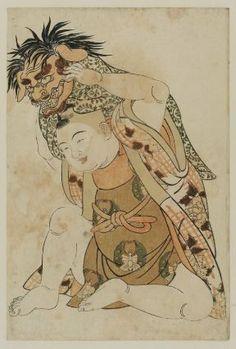 Young boy with demon's mask.  Japanese, Edo period  Artist Kitao Shigemasa, Japanese, 1739–1820, Woodblock print (nishiki-e); ink and color on paper, MFA