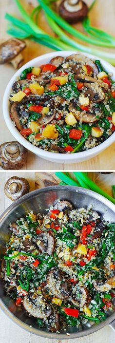 Healthy quinoa with vegetables. Spinach, mushrooms, green onions, red bell pepper, and fresh peach. Works as a side dish or a salad. Light and lean recipe for the Summer!