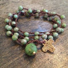 "Rustic Bronze Cross Multi Wrap Bracelet, Necklace ""Boho Chic"" $38.00"