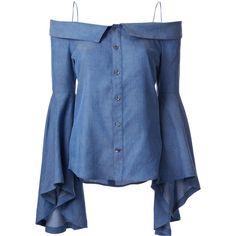 G.V.G.V. denim off-shoulders blouse (£220) ❤ liked on Polyvore featuring tops, blouses, blue, off shoulder tops, denim blouse, blue blouse, blue top and denim top