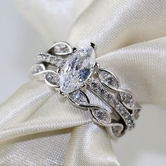 1CT-AAA-Zircon-S925-Silver-White-Gold-Filled-3pcs-Women-039-s-Wedding-Ring-Sets-Band