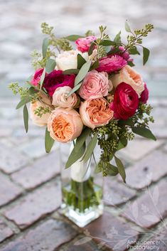 Anna and Spencer Photography, Bride's Bouquet by English Gardens Florist, Jekyll Island. Pink & Peach Ranunculus & Seeded Eucalyptus.