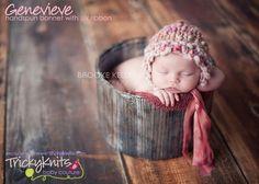 Baby Girl Handspun Bonnet Professional Newborn Photography Prop by TrickyKnits #knitting #babygirlhat #photoprop #handspun #newborn #handknitbonnet