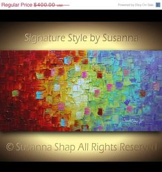❘❘❙❙❚❚ ON SALE ❚❚❙❙❘❘     Original large contemporary fine art by Susanna- white and multicolored impasto modern palette knife abstract textured