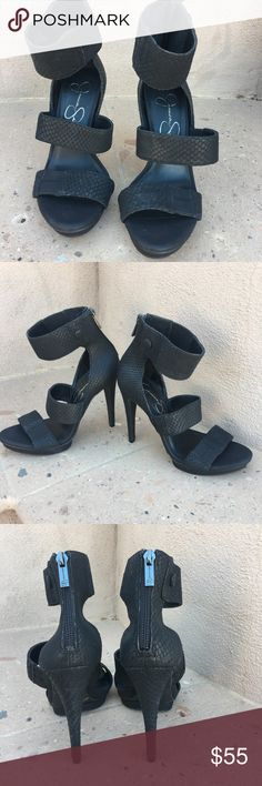 Jessica Simpson black stiletto ankle strap shoes Jessica Simpson black stiletto ankle strap shoes.  Worn once for a photo shoot.  Size 6  ⭐️ Color may vary slightly due to lighting and device used for viewing ⭐️Seller not responsible for fit nor comfort Jessica Simpson Shoes Heels