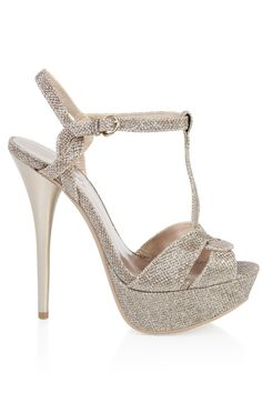 peep toe mesh #glitter high heel with t-strap #prom  $27.60