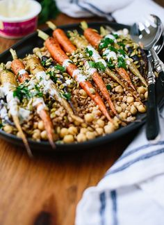 Roasted rainbow carrots with farro, chickpeas, pepitas and parsley - cookieandkate.com
