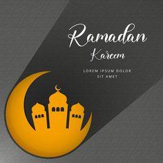 Ramadan Kareem Greeting Vector Design With The Moon Mosque Islam Ramadan, Ramadan Mubarak, Muslim Greeting, Islamic Celebrations, Ramadan Greetings, Making Greeting Cards, Islamic Calligraphy, Religious Art, Mosque