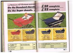 Vintage 1970 Mothercare prams in the catalogue