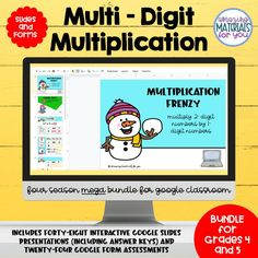 Do your students need practice with two digit by two digit, one digit by 2 and 3 digit, two digit by 3 digit, and four digit by one digit multiplication problems? These Google™ slides and Google™ form quizzes are just the thing! They're paperless and great for progress monitoring! This mega bundle includes a fall set, a Halloween set, Thanksgiving set, a winter set, a snowman set, a Christmas set, a St. Patrick's set, a spring set, an Easter set, a pond set, an ocean set, & a beach set. Multi Digit Multiplication, Multiplication Problems, Progress Monitoring, Christmas Settings, Google Classroom, Learning Activities, Quizzes, Presentation, Digital