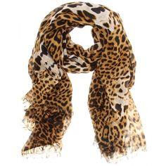 Yves Saint Laurent Leopard Print Wool-Cashmere Scarf