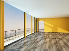 Empty Yellow Room with Balcony