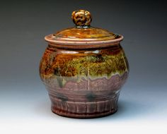 John Glick Plum Tree Pottery Stoneware Jar Hand by MugsMostly