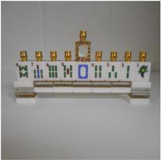 Mah Jongg Tile Chanukkah Menorah~White/Leopard Print Tiles & Gold Candle Cups